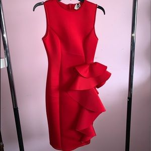 Red Mid-length frill dress